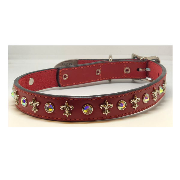 St. Louis Red Fleur de Lis Leather Dog Collar