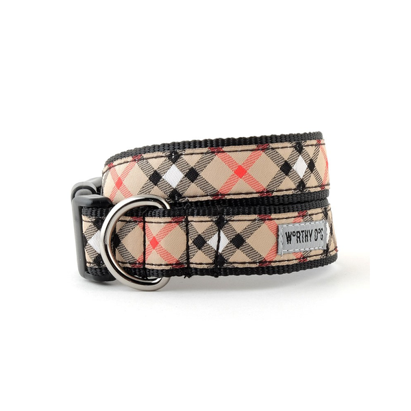 Tan Plaid Dog Collar & Matching Lead Available