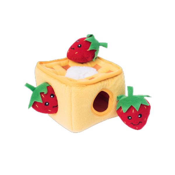 Strawberry Waffles Hide and Seek Dog Toy