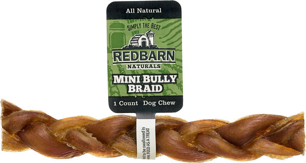 Redbarn Naturals Mini Braided Bully Sticks Dog Treats