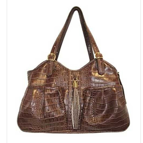 Metro Brown Croc Carrier Tote