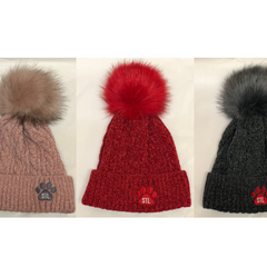 STL Pawprint Cable Knit Pompom Beanie