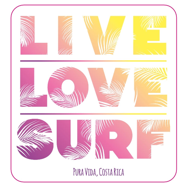Live Love Surf Die Cut Sticker - Slothtoescr