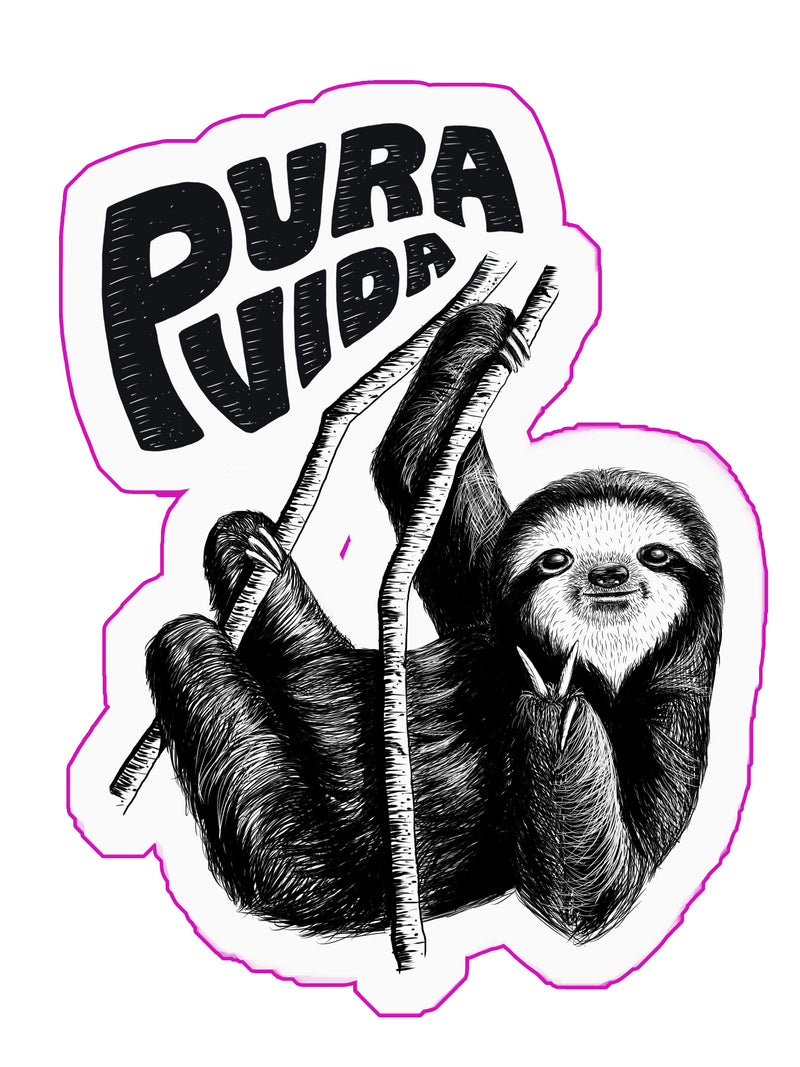 Pura Vida Sloth Die-Cut Sticker - Slothtoescr
