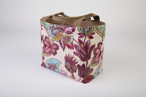 Exotic Floral Linen Shopper