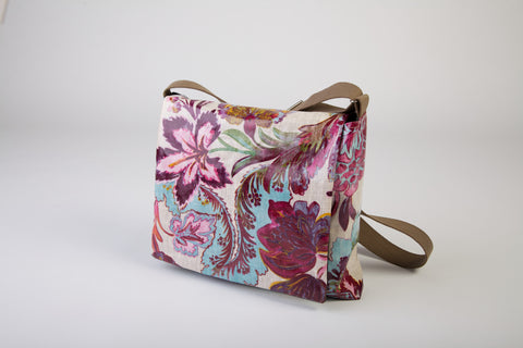 Exotic floral shoulder bag