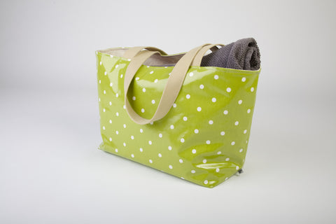 Green Dotty Beach Bag