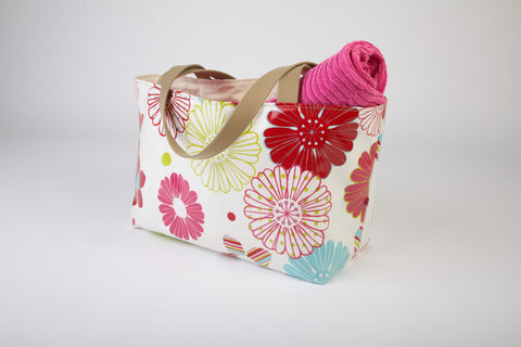 White Flower Beach Bag