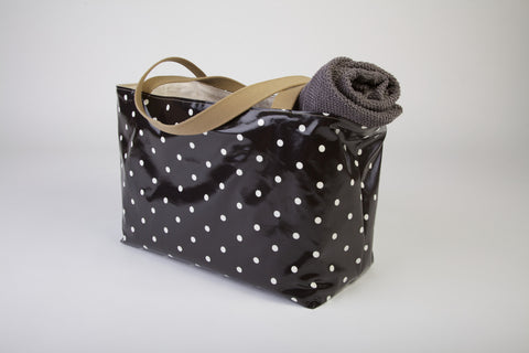 Black Dotty Beach Bag