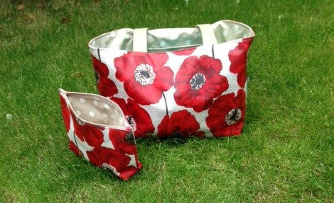 Red Poppy Beach Bag with matching Suncream Zippy