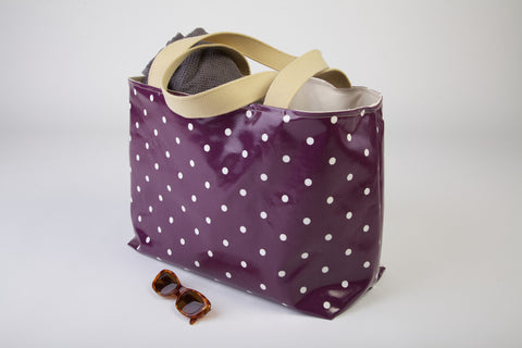 Purple Dotty Beach Bag
