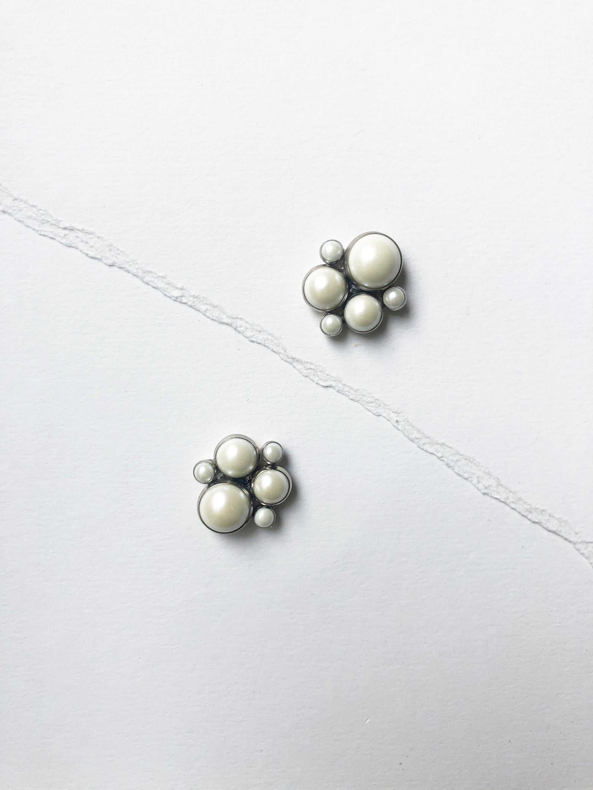 Pearl Cluster Stud in Silver (1 unit ready to ship)