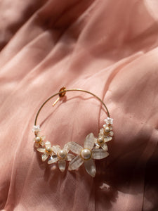 STEVIE: Glass floral hoops SP2021 [gold or silver]
