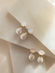 MAGNOLIA: Pearl and Stone mini drop earring SP2021 [gold or silver]