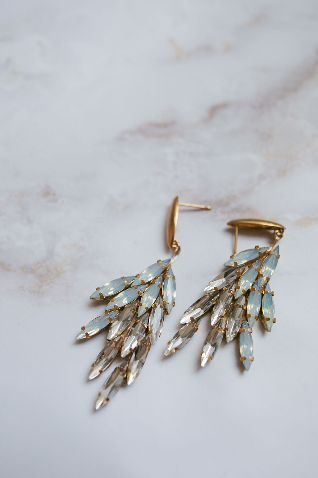 Crystal and Moonstone drop earrings