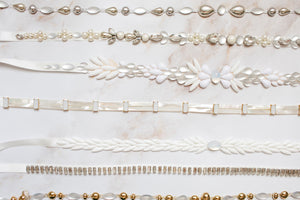 "White and Moonstone beaded sash ""Audrey"" [NEW 2021]"