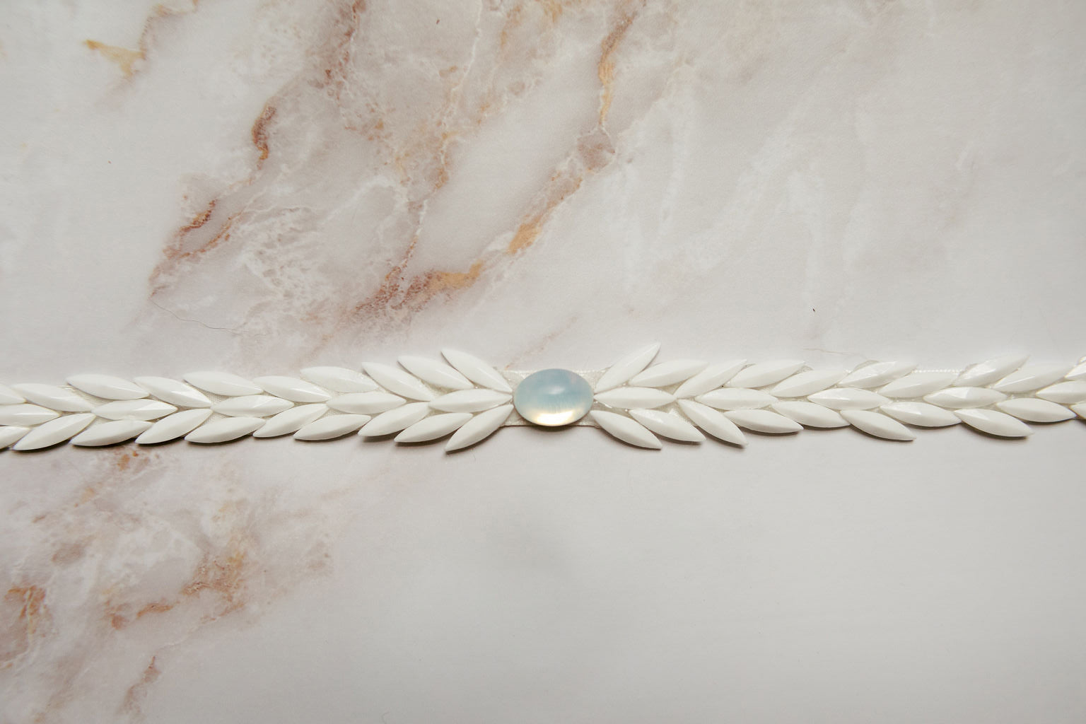 Layered white beading belt with opal center