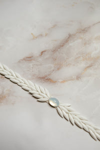 "Layered white beading belt with opal center ""Lilliana"" [NEW 2021]"