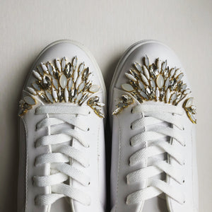 Custom Beaded Sneakers: Moonstone & Crystal