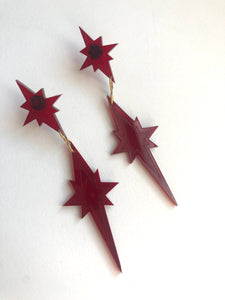 Star drop earring in red // NEARLY NEW