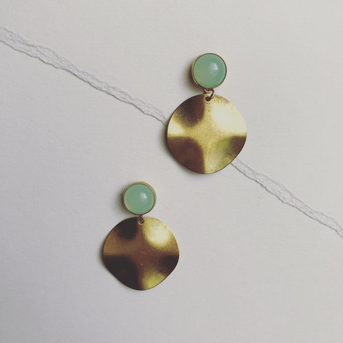 Pale Green ad Gold Drop Earrings #HC004