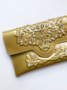 MeDusa + HushedCommotion Beaded Slim Clutch (gold)-special-collab-hand-bags-Hushed Commotion