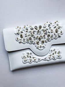 MeDusa + HushedCommotion Beaded Slim Clutch (white)-special-collab-hand-bags-Hushed Commotion
