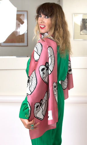 Gaelitrea the Inner Guidance Angel long silk scarf Pink (Collection Number One)