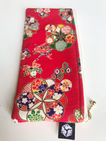 Red Floral Zipper Pencil Pouch