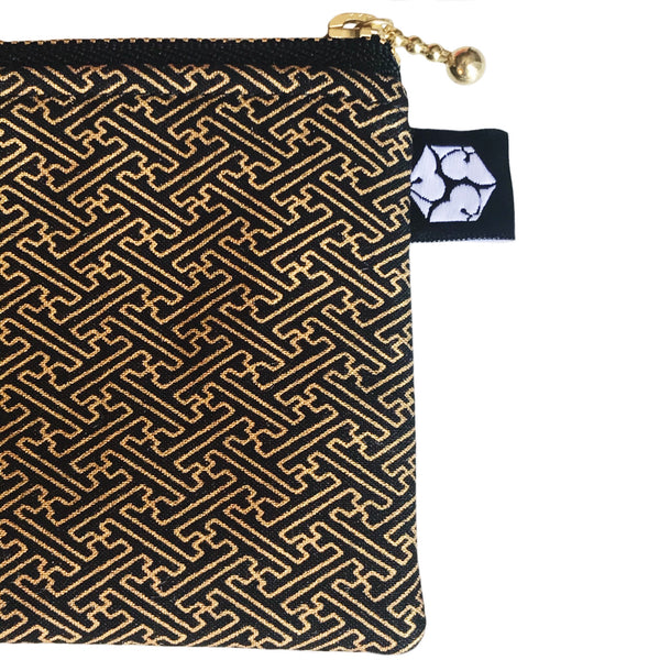 Black 𝚊𝚗𝚍 Gold Sayagata Zipper Pencil Pouch