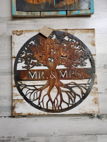 Rusted Metal Tree of Life - Mr. & Mrs. on Wood Back