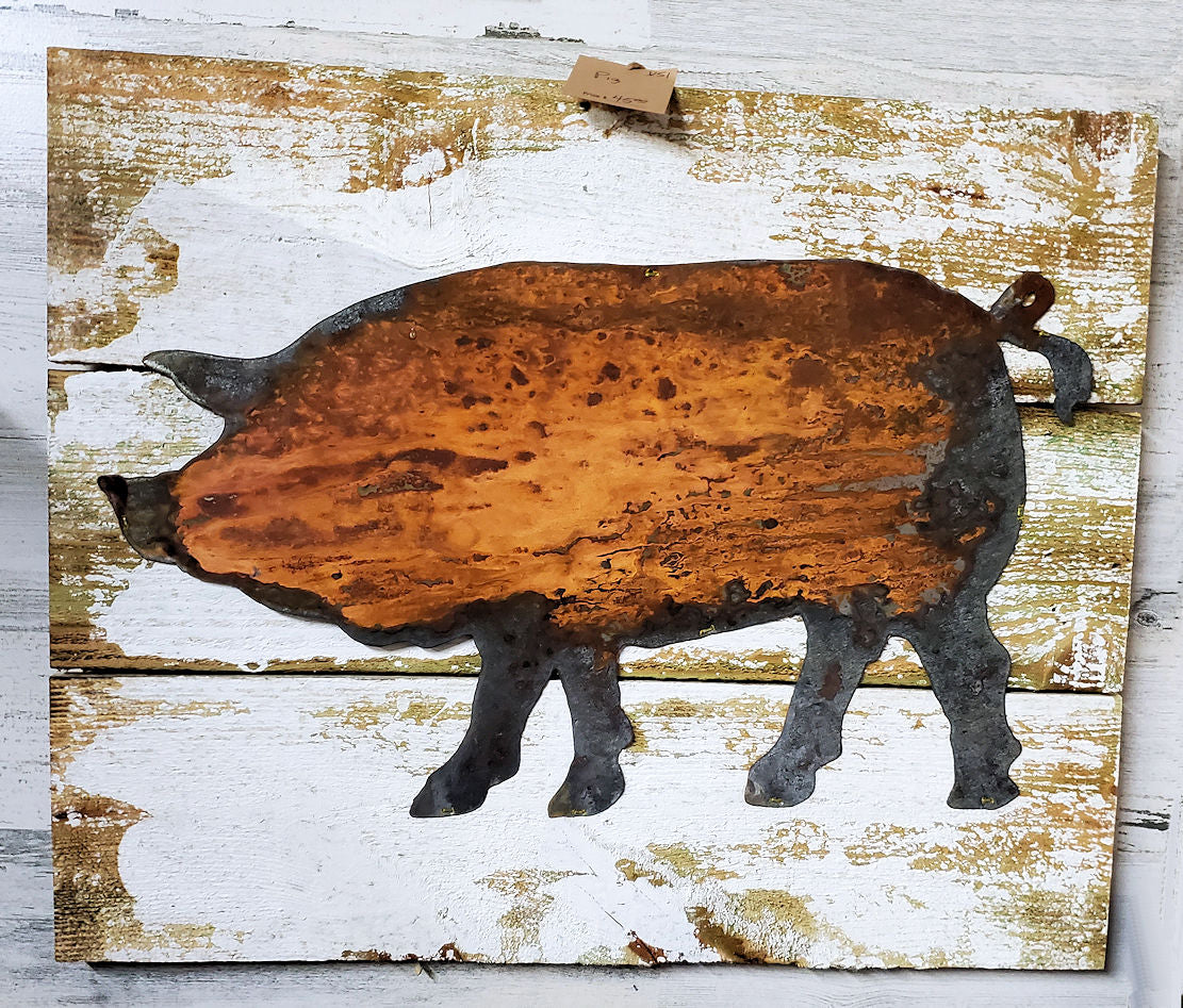 Rusty Metal Pig on Board Back
