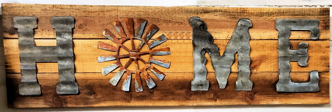 Corrugated Metal Home Sign w/Rusty Windmill on Board Back