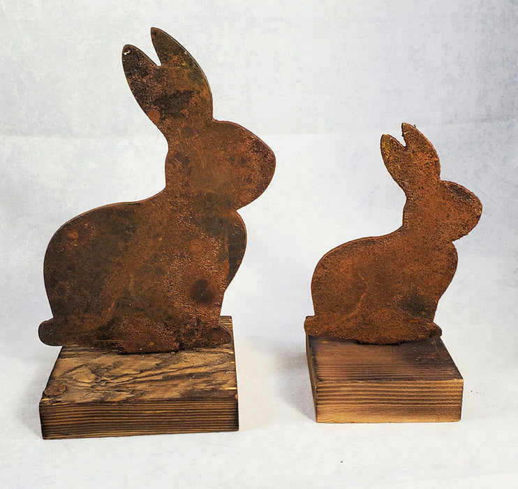 Rusty Metal Bunny on Wood Base