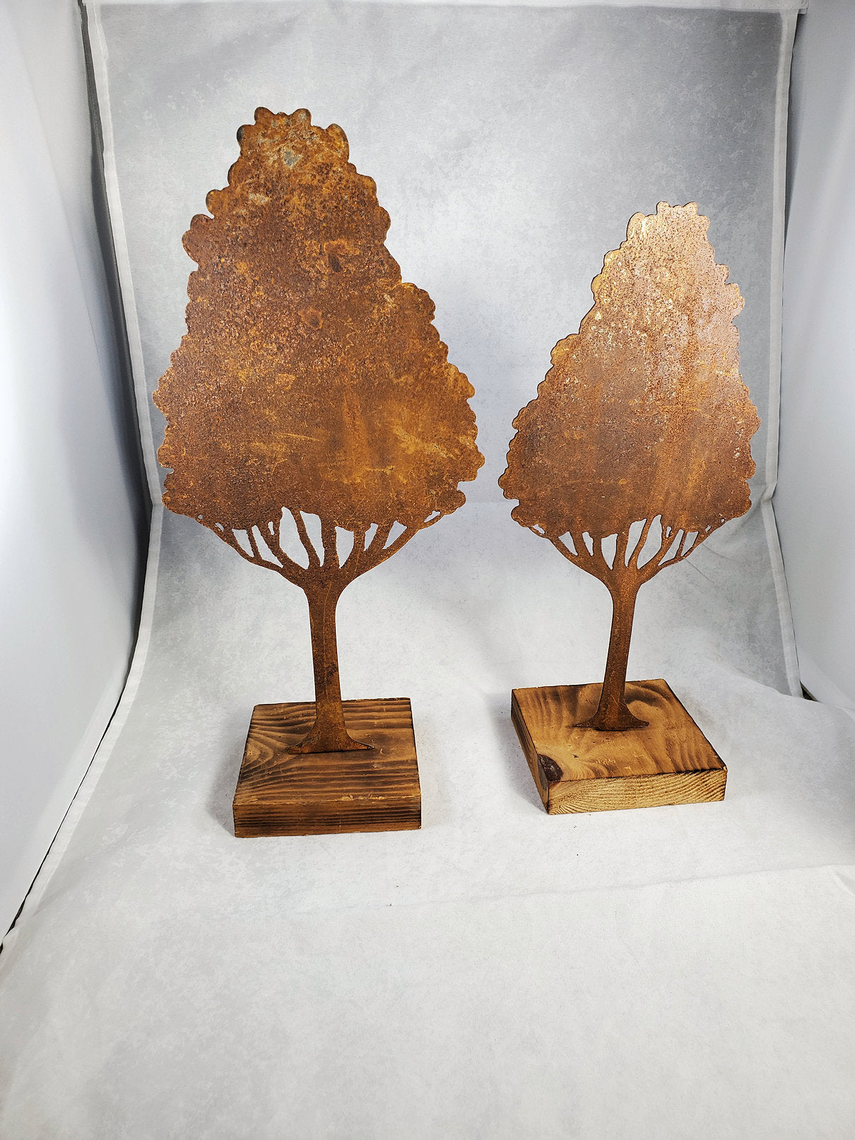 Rusty Metal Elm Tree on Wood Base