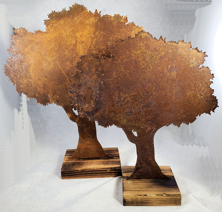 Rusty Metal Oak Tree on Wood Base
