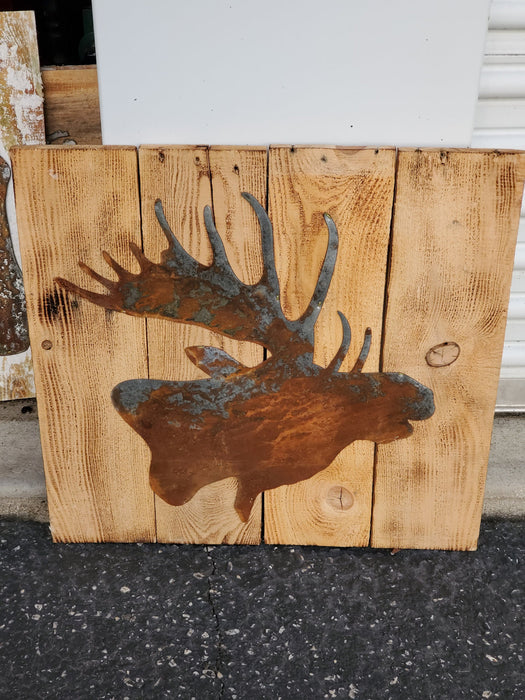 Rusted Moose on Board Back