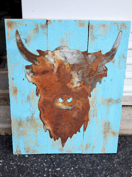 Rusted Metal Scottish Highland Steer on Board Back