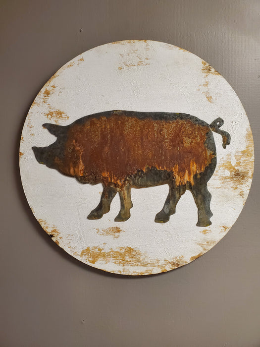 Pig on White Round Board Back