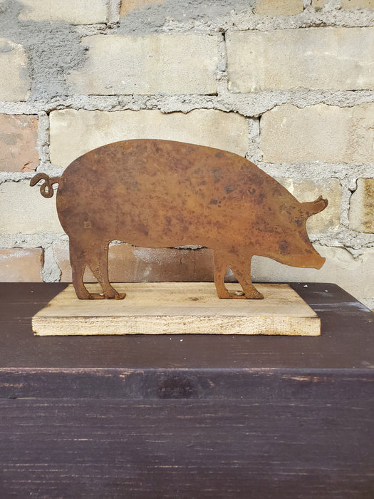 Rusted Metal Pig on Wood Base - Medium