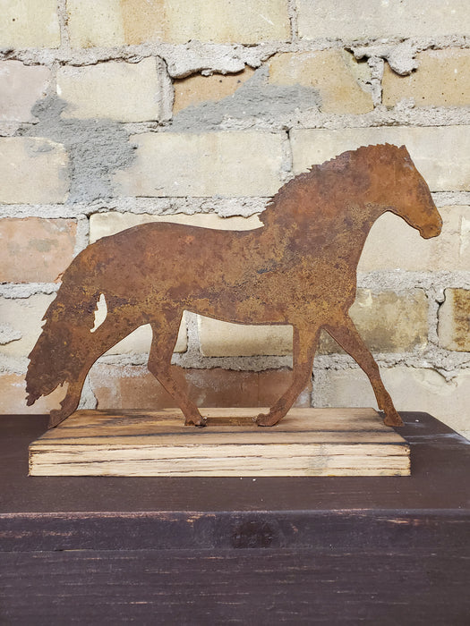 Rusted Metal Running Horse