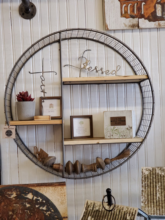 Round Wire Mesh and Wood Shelving Unit
