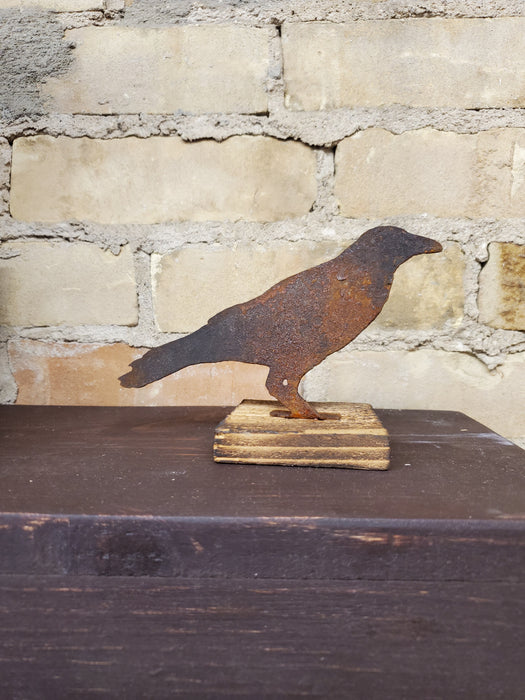Rusty Metal Crow on Base - 3 Sizes