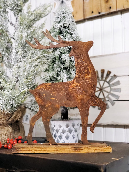 Rusted Woodland Buck on Reclaimed Wood Base