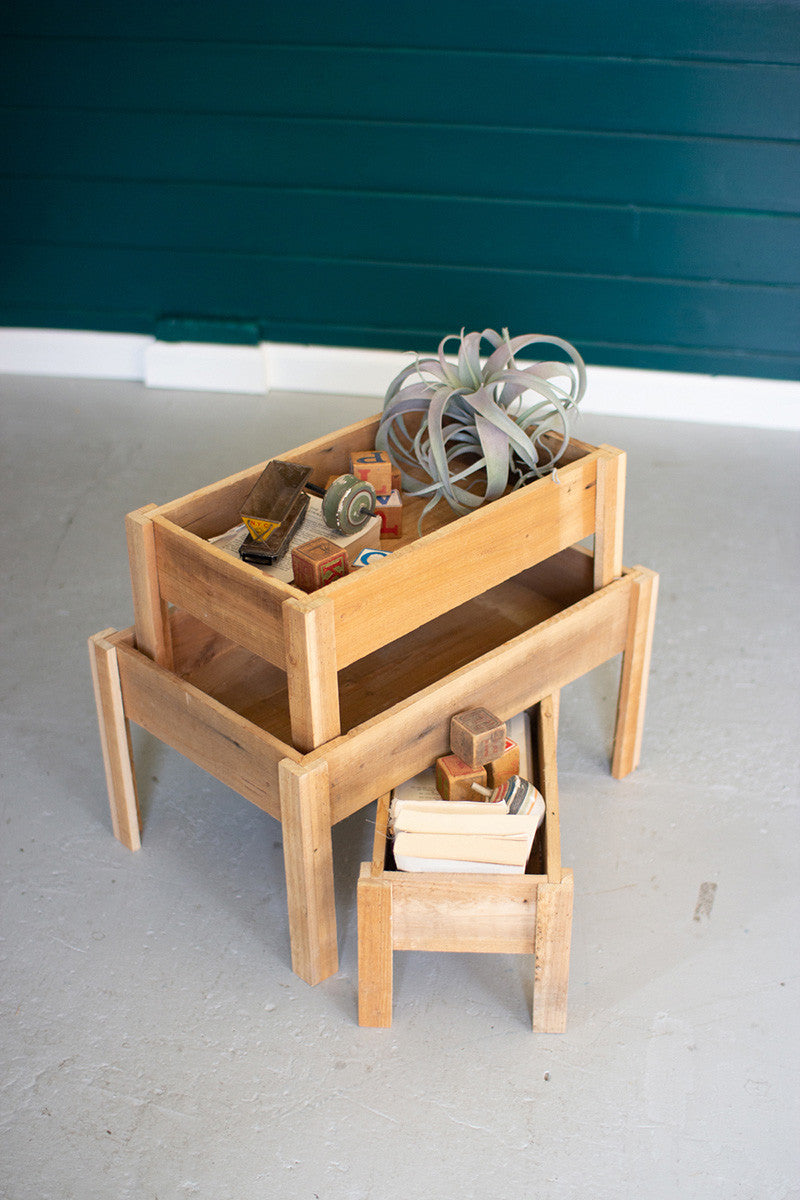 Rectangle Recycled Wood Storage Trays on Stand - Large
