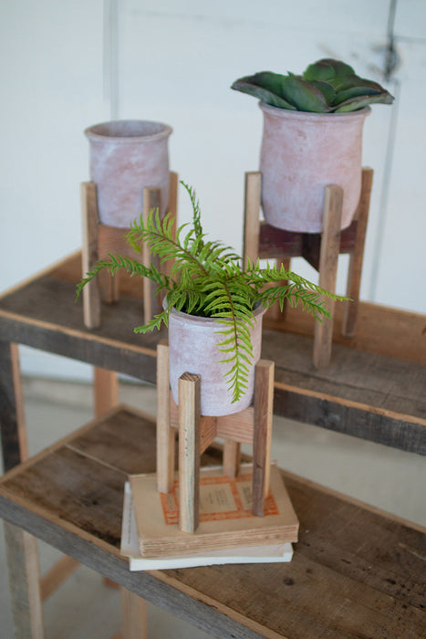 White Washed Clay Flower Pot on Recycled Wood Stand