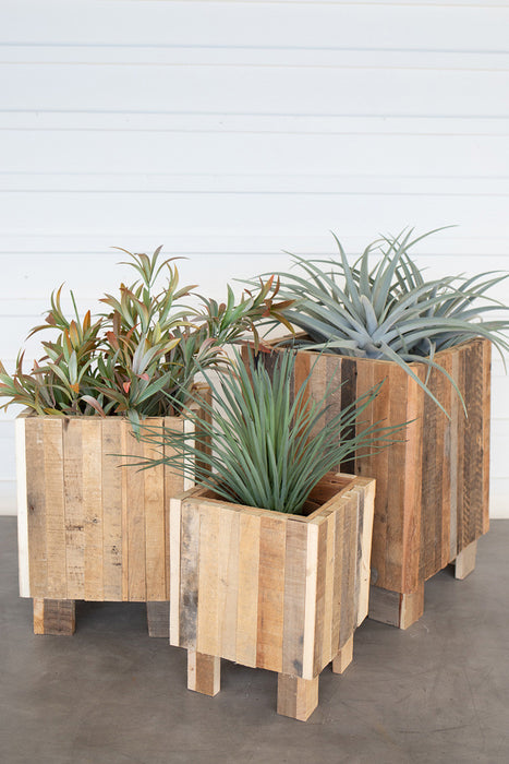Natural Recycled Wood Square Planter