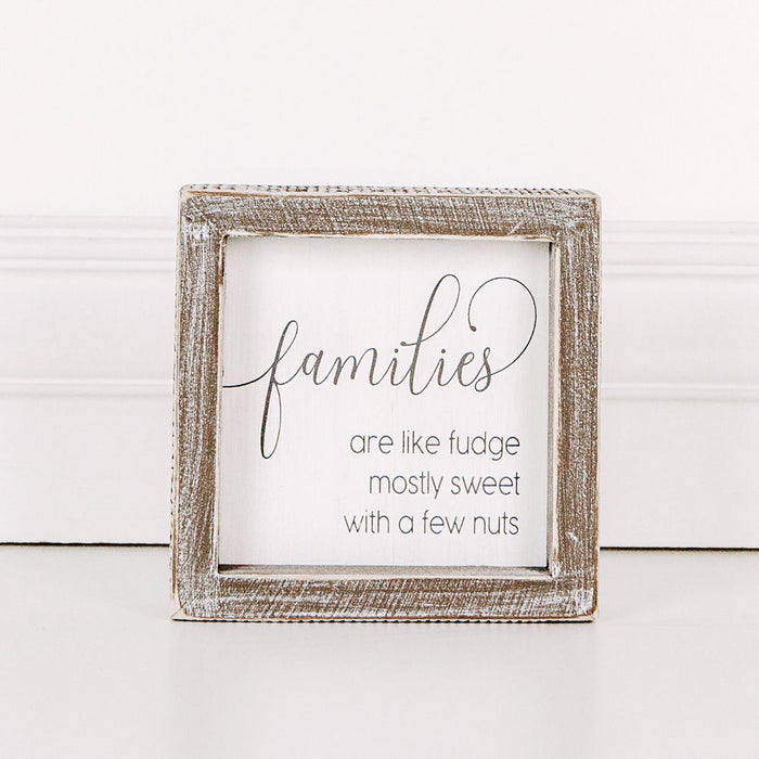 Families Are Like Fudge Wood Framed Sign 5 x 5