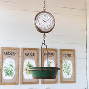 Green Hanging Scale Clock