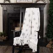 Grey Snowflake Woven Throw 60 x 50